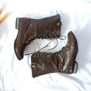 madden girl | Brown Fold-over Combat Boot